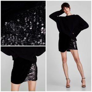 Zara Velvet And Sequin Mini Skirt